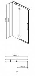 CERSANIT - Sprchové dveře s panty CREA 90x200, levé, čiré sklo (S159-005), fotografie 12/6