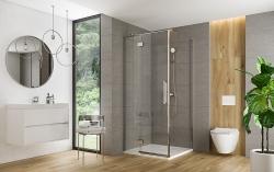 CERSANIT - Sprchové dveře s panty CREA 90x200, levé, čiré sklo (S159-005), fotografie 6/6