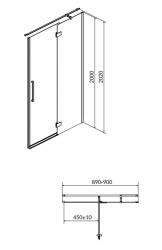 CERSANIT - Sprchové dveře s panty CREA 90x200, pravé, čiré sklo (S159-006), fotografie 12/6