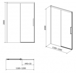 CERSANIT - Sprchové posuvné dveře CREA 120x200, čiré sklo (S159-007), fotografie 8/4