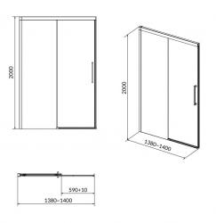 CERSANIT - Sprchové posuvné dveře CREA 140x200, čiré sklo (S159-008), fotografie 8/4