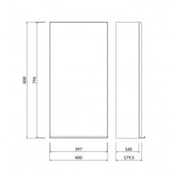 CERSANIT - Zrcadlová skříňka VIRGO 40 šedý dub s chromovými úchyty (S522-011), fotografie 2/6