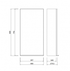 CERSANIT - Zrcadlová skříňka VIRGO 40 šedý dub s černými úchyty (S522-012), fotografie 2/6