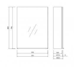 CERSANIT - Zrcadlová skříňka VIRGO 60 šedý dub s chromovými úchyty (S522-015), fotografie 2/6