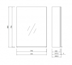 CERSANIT - Zrcadlová skříňka VIRGO 60 šedý dub s černými úchyty (S522-016), fotografie 2/5