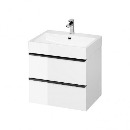 CERSANIT - Umyvadlová skříňka VIRGO 60 bílá s černými úchyty (S522-018)