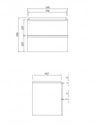 CERSANIT - Umyvadlová skříňka VIRGO 60 bílá s černými úchyty (S522-018), fotografie 2/5