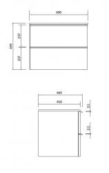 CERSANIT - Skříňka VIRGO 60 bílá pod umyvadlo na desku s černými úchyty (S522-019), fotografie 2/4