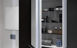 CERSANIT - Zrcadlová skříňka VIRGO 40 šedý dub s černými úchyty (S522-012), fotografie 4/6