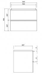CERSANIT - Umyvadlová skříňka VIRGO 60 šedý dub s černými úchyty (S522-021), fotografie 2/5