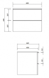 CERSANIT - Skříňka VIRGO 60 šedý dub pod umyvadlo na desku s chromovými úchyty (S522-022), fotografie 2/4