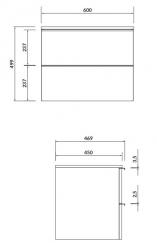 CERSANIT - Skříňka VIRGO 60 šedý dub pod umyvadlo na desku s černými úchyty (S522-023), fotografie 2/4